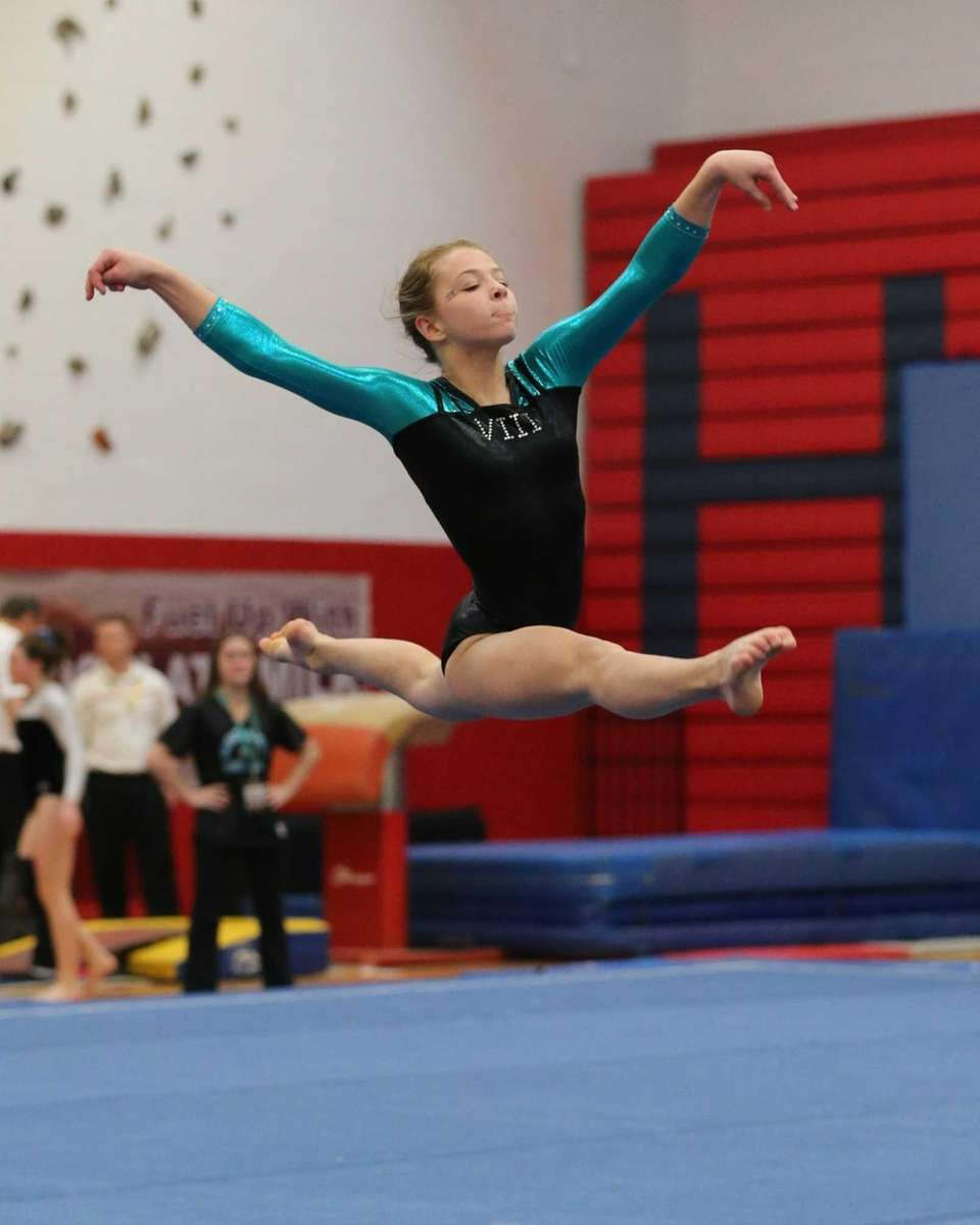 Bethpage gymnast Alyssa Firth performs her floor exercise