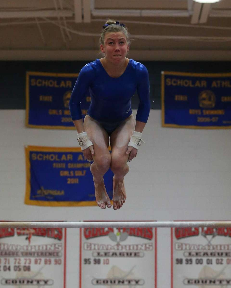 Bay Shore gymnast Sarah Trupp performs her routine