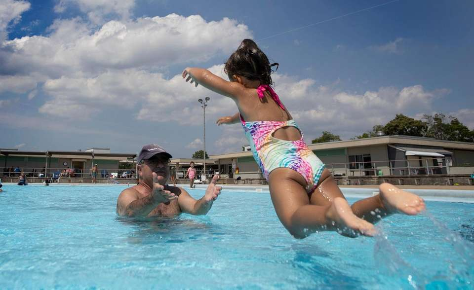 Jimmy Caruso, of Seaford, plays in the pool