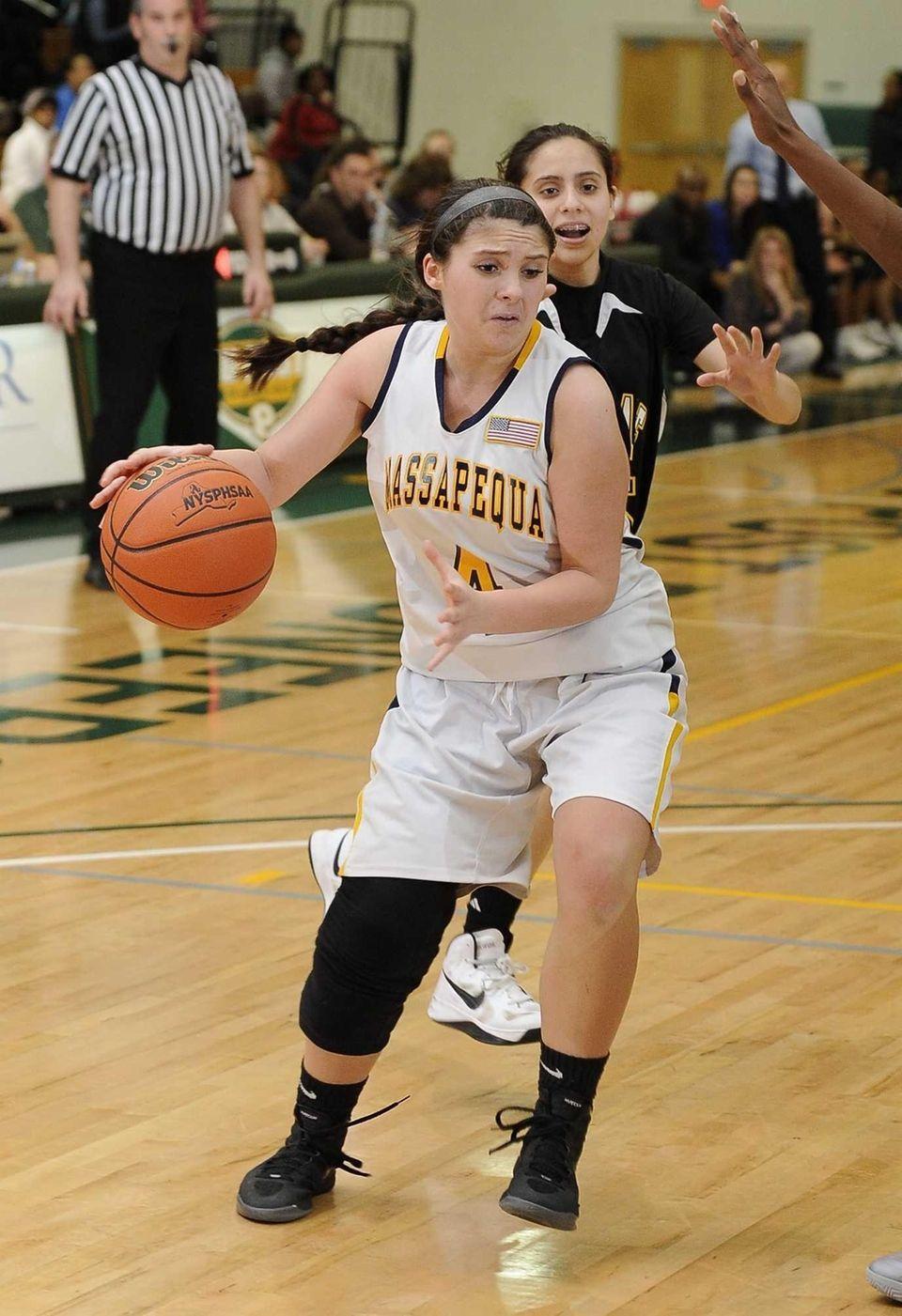 Massapequa's Sabrina Fregosi drives to the basket against