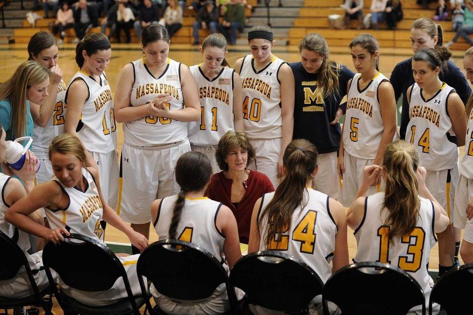 Massapequa head coach Shari Roessler directs her players
