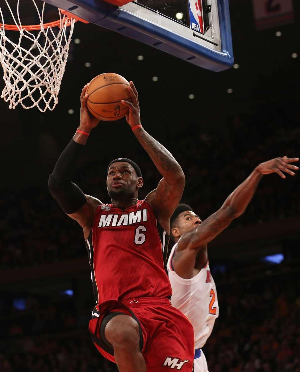 The Miami Heat's LeBron James goes up for