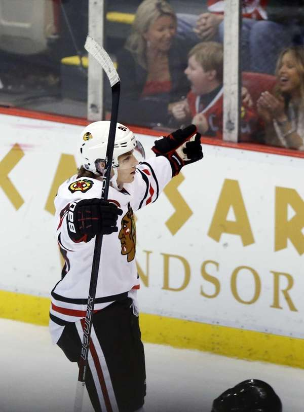 Chicago Blackhawks right wing Patrick Kane celebrates his