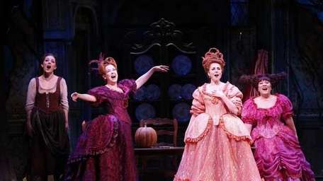 Laura Osnes as Cinderella; Harriet Harris (stepmother) and