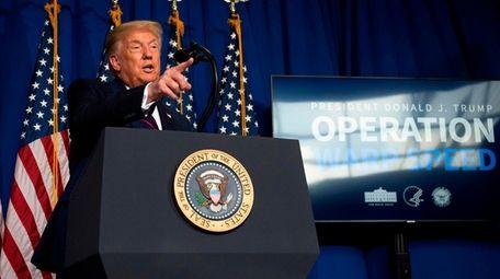 President Donald Trump speaks Monday at Fujifilm Diosynth