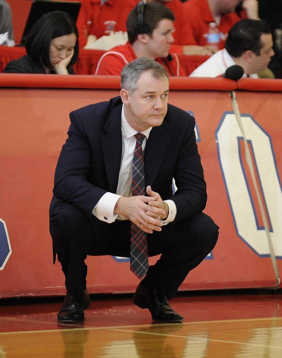 Stony Brook head coach Steve Pikiell looks on