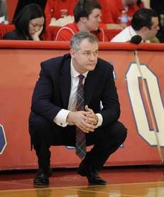 Stony Brook head coach Steve Pikiell looks on