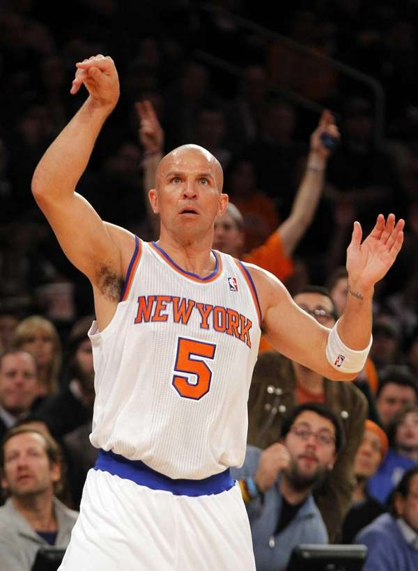 Jason Kidd watches his shot during a game