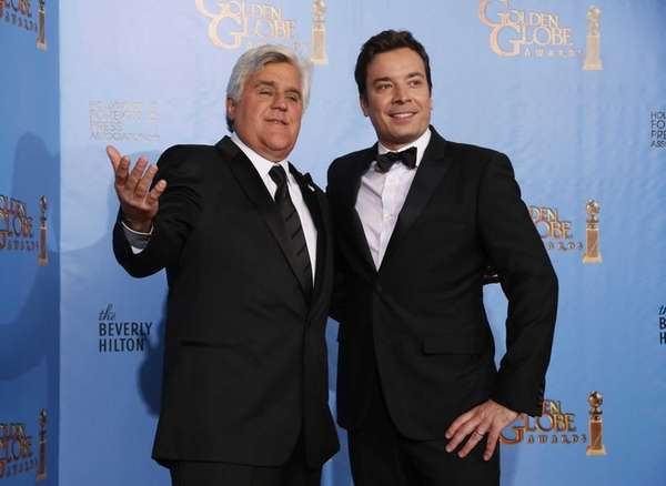 Late night talk show hosts Jay Leno, left,
