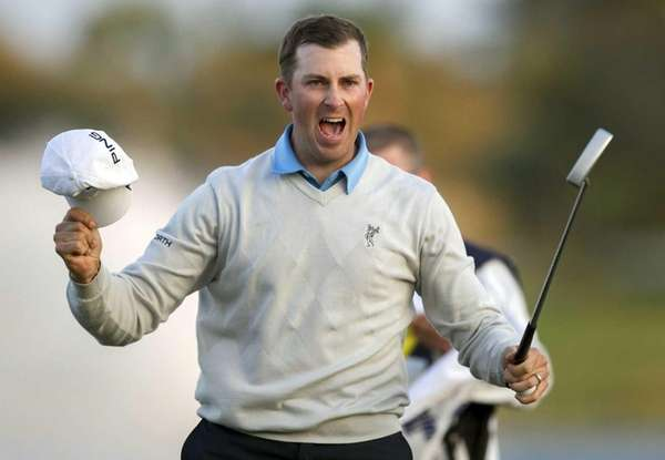 Michael Thompson reacts to winning the Honda Classic