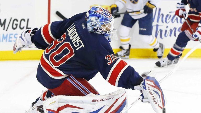 Henrik Lundqvist makes a blocker save in the