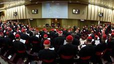 Cardinals attend a meeting at the Vatican. Cardinals