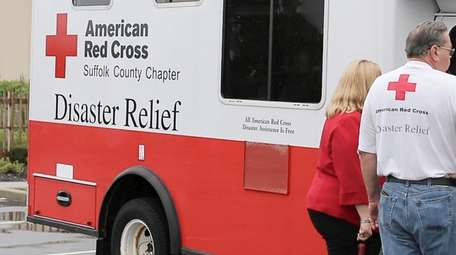 An American Red Cross Disaster Relief vehicle outside