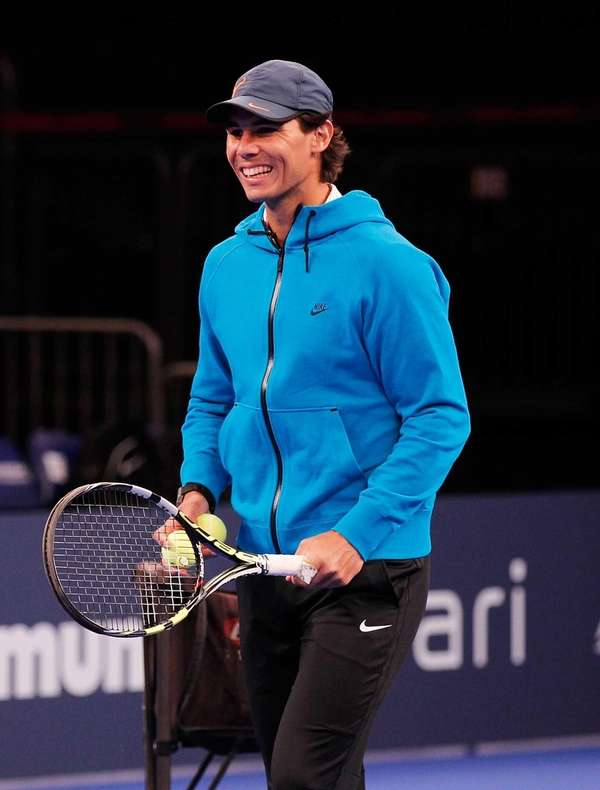 Rafael Nadal participates in on-court clinics prior to
