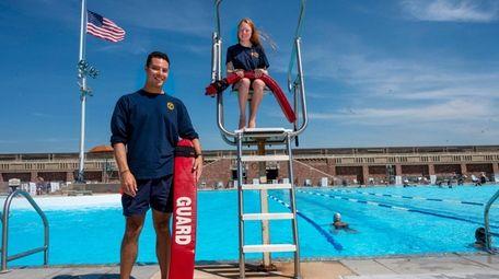 Rookie Jones Beach lifeguards, Brian Shtab and Erin