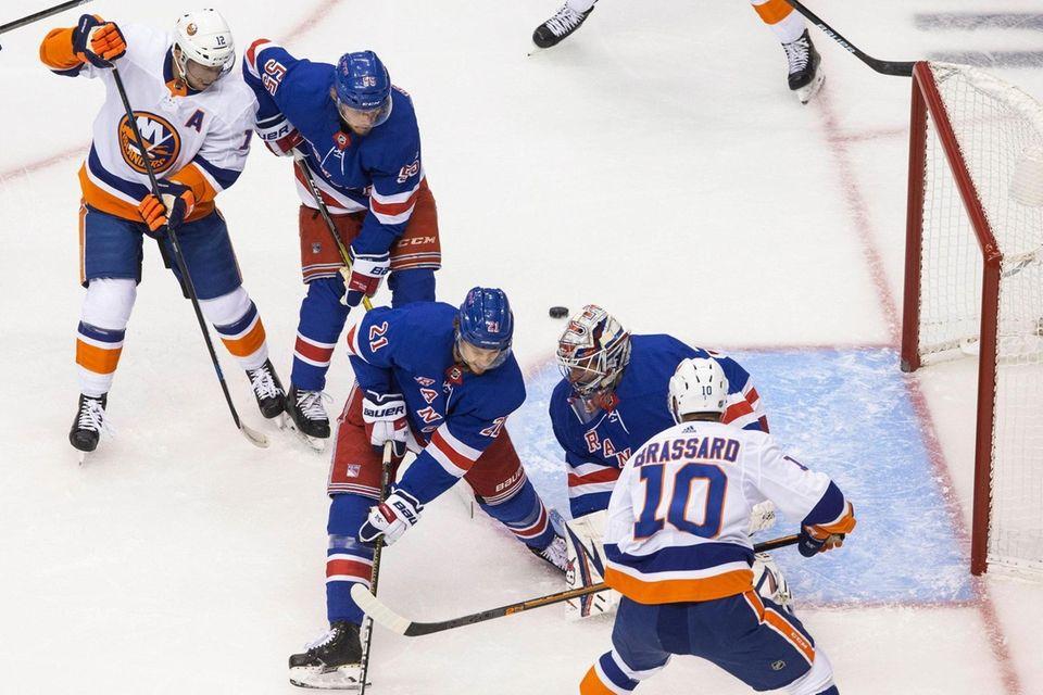 A shot by New York Islanders center Derick