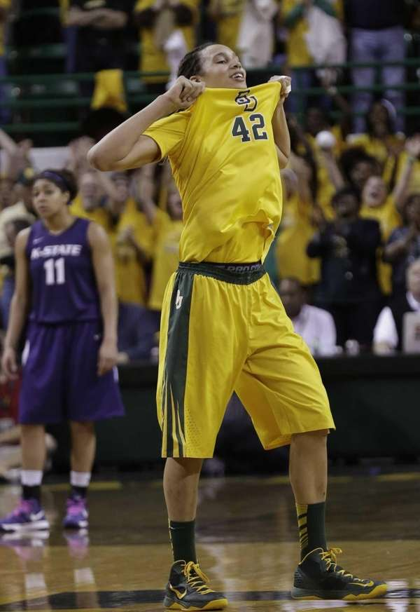 Baylor center Brittney Griner (42) celebrates after she