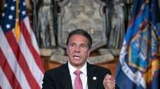 Gov. Andrew M. Cuomo at a news briefing