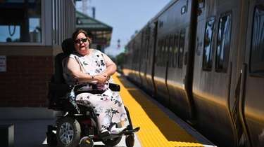 Gina Barbara, a wheelchair user, LIRR rider and
