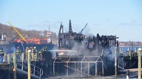 Firefighters battle a blaze at the Danfords Hotel