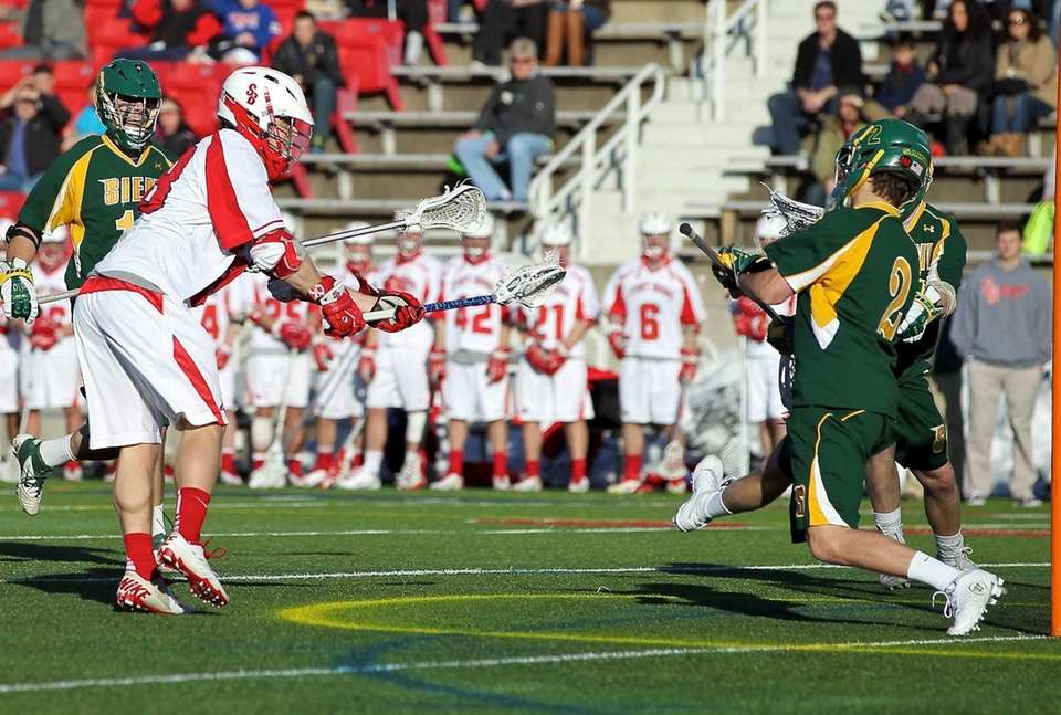 Stony Brook's Brody Eastwood shoots and scores against