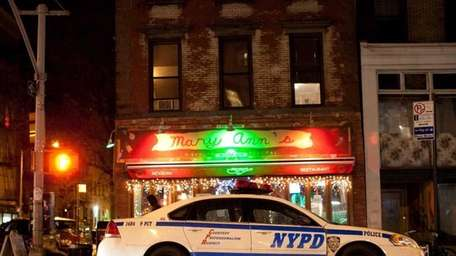 A police car in the East Village on