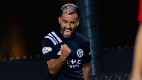 New York City FC midfielder Maxi Moralez celebrates