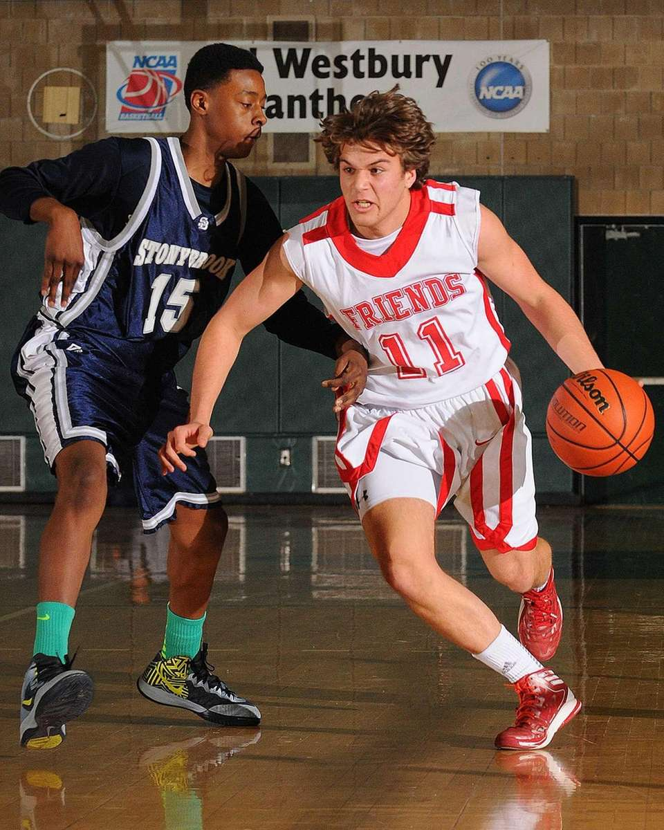 Stony Brook's Chase Audige, left, pressures Friends Academy's