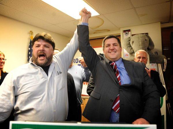 Brookhaven Town Republican Committee chairman Jesse Garcia celebrates