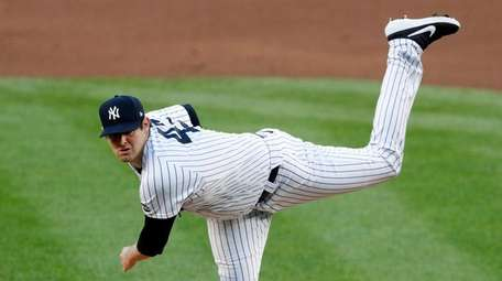 Jordan Montgomery #47 of the Yankees pitches during