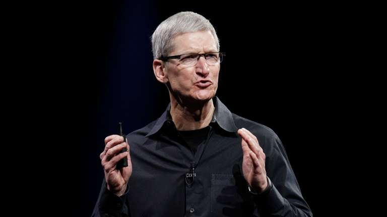Apple CEO Tim Cook speaks at the World