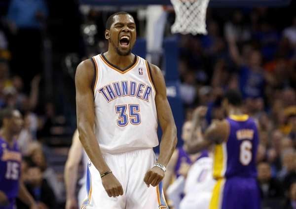 Oklahoma City Thunder forward Kevin Durant (35) reacts