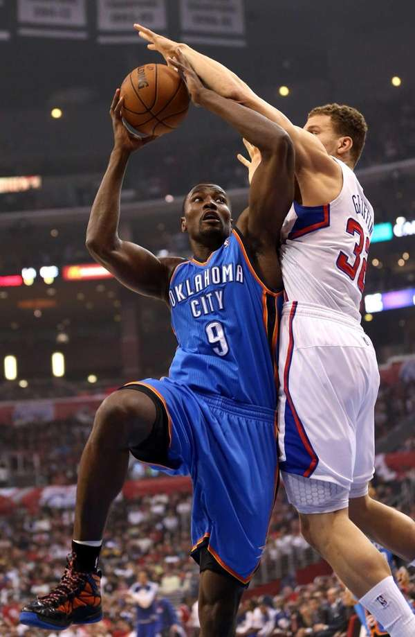 Oklahoma City Thunder forward Serge Ibaka goes up