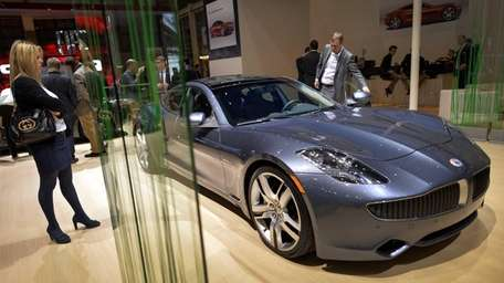 A Fisker Karma luxurious electric car is seen