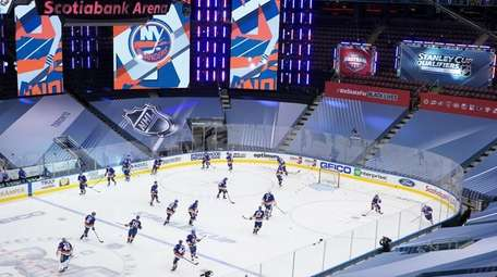 The Islanders warm up prior to Game One