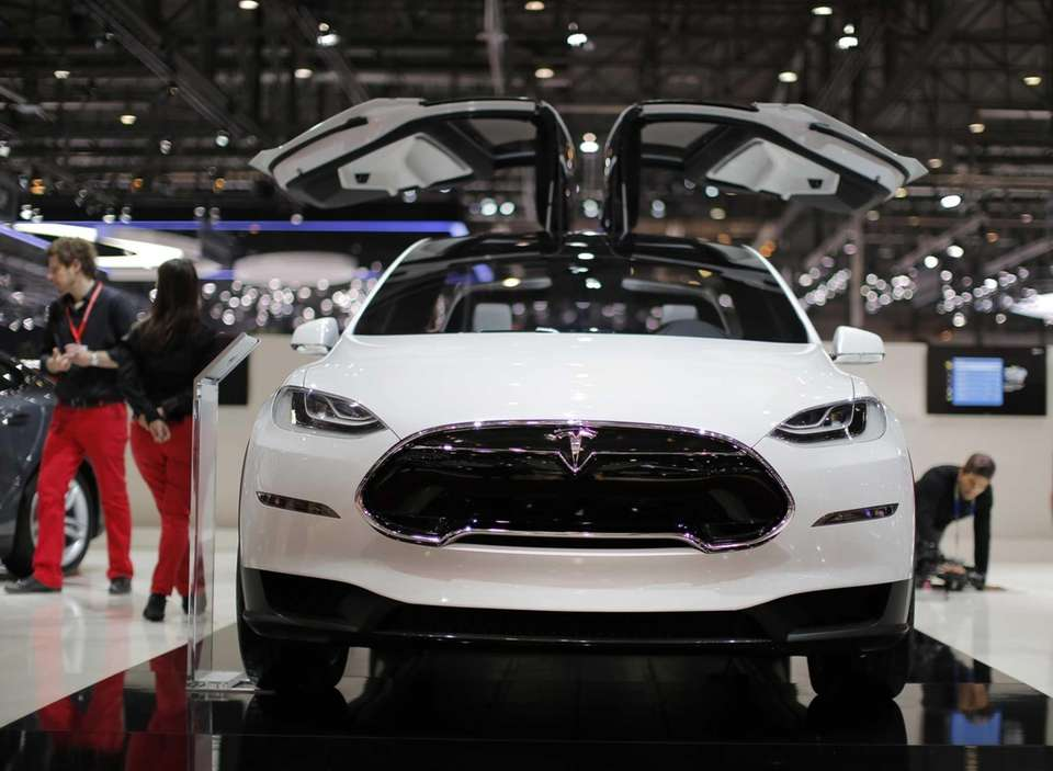 A Tesla Model X electric prototype automobile is