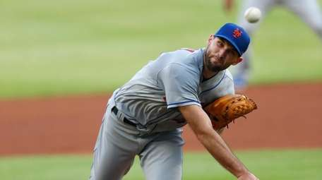 Mets starting pitcher Michael Wacha works in the