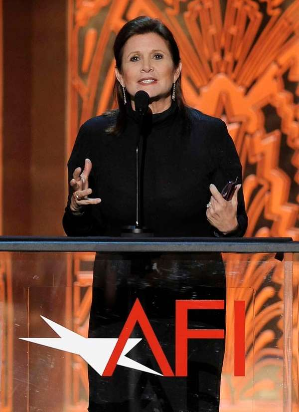 Carrie Fisher speaks during the AFI Life Achievement