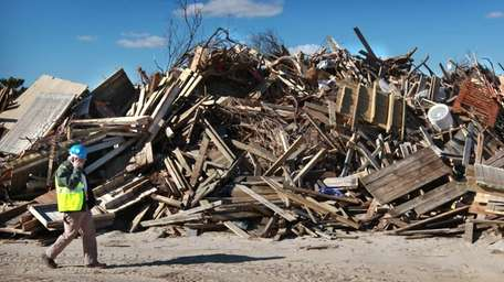 Debris from damage caused by superstorm Sandy is
