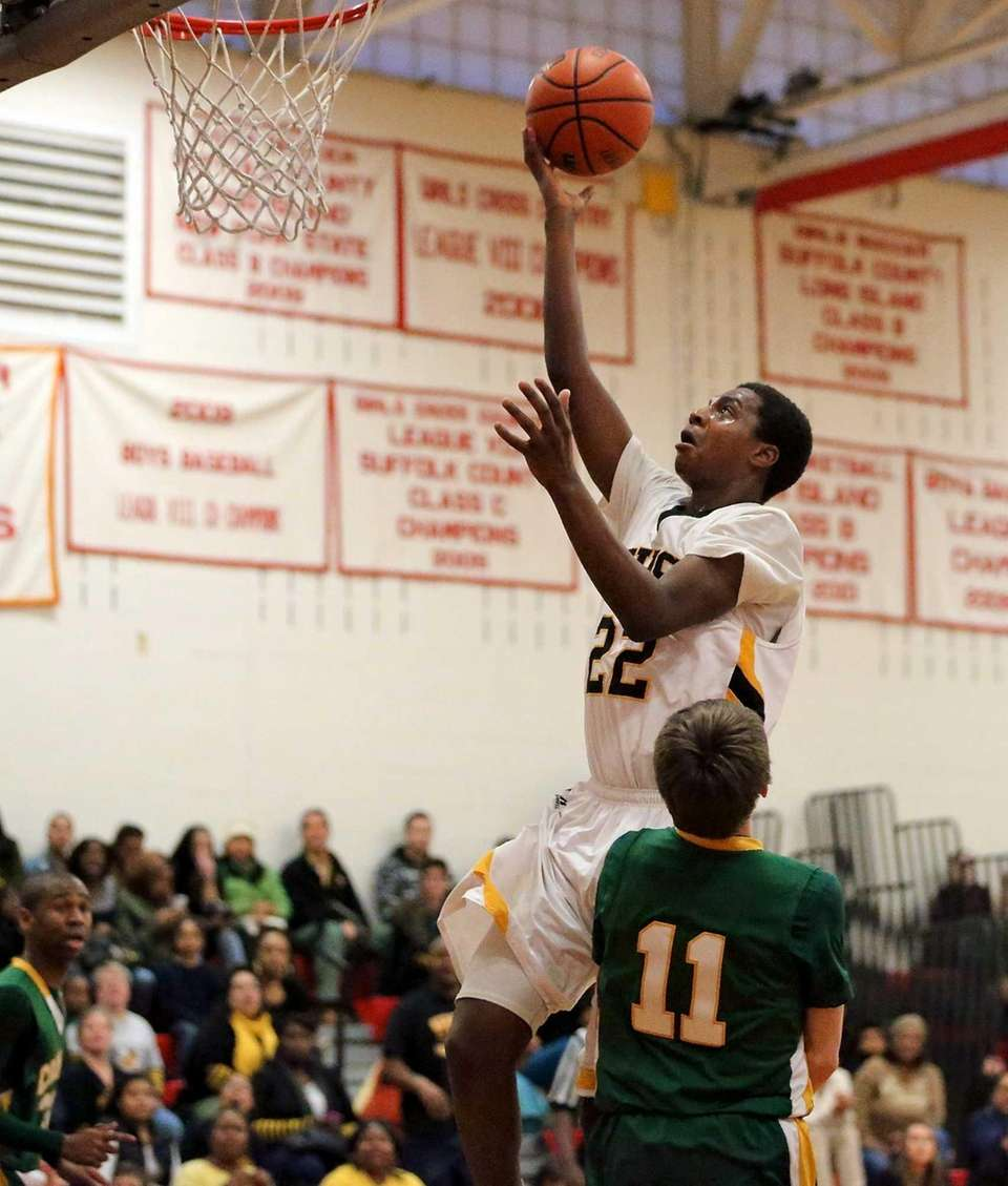Bridgehampton's Jason Hopson takes the steal in for