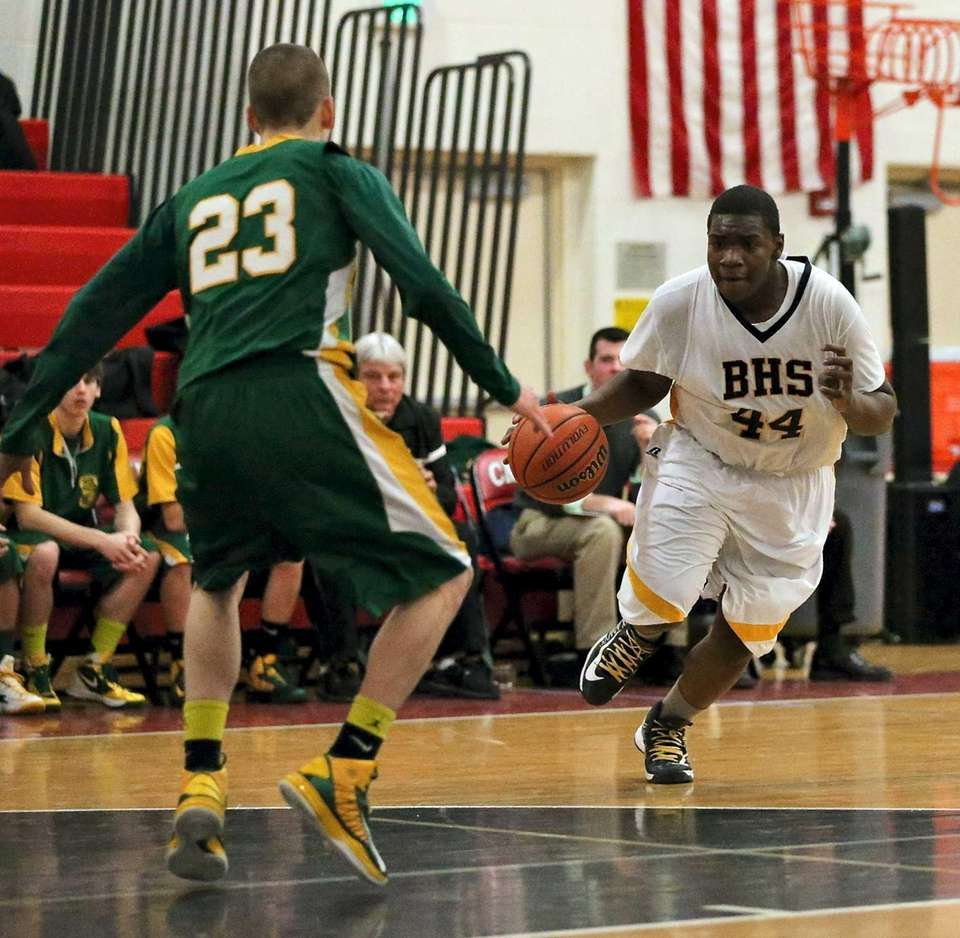 Bridgehampton's Joshua Lamison moves on the outside against