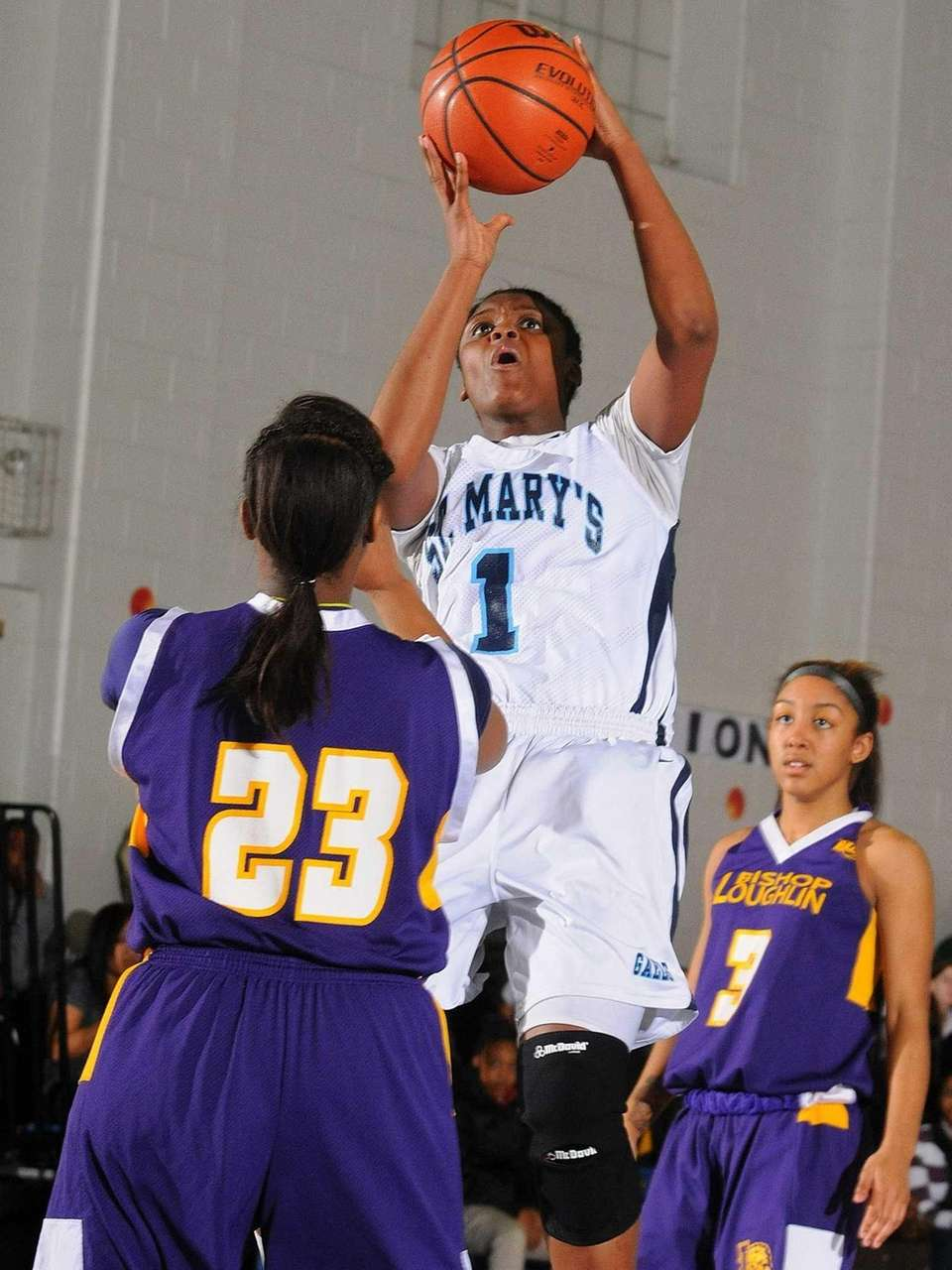 St. Mary's Jordan Agustus looks to drive to