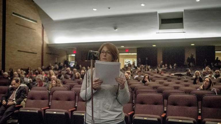 Alison Sinacore, of Farmingville, spoke to the school