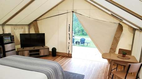A look from inside one of the glamping