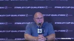 Islanders coach Barry Trotz, spoke at a press conference