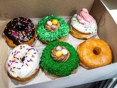 A box of North Fork Doughnut Co. doughnuts