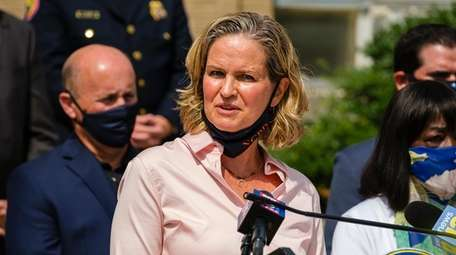 Nassau County Executive Laura Curran speaks at a