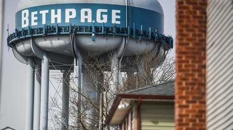 A Bethpage Water District water tower seen from
