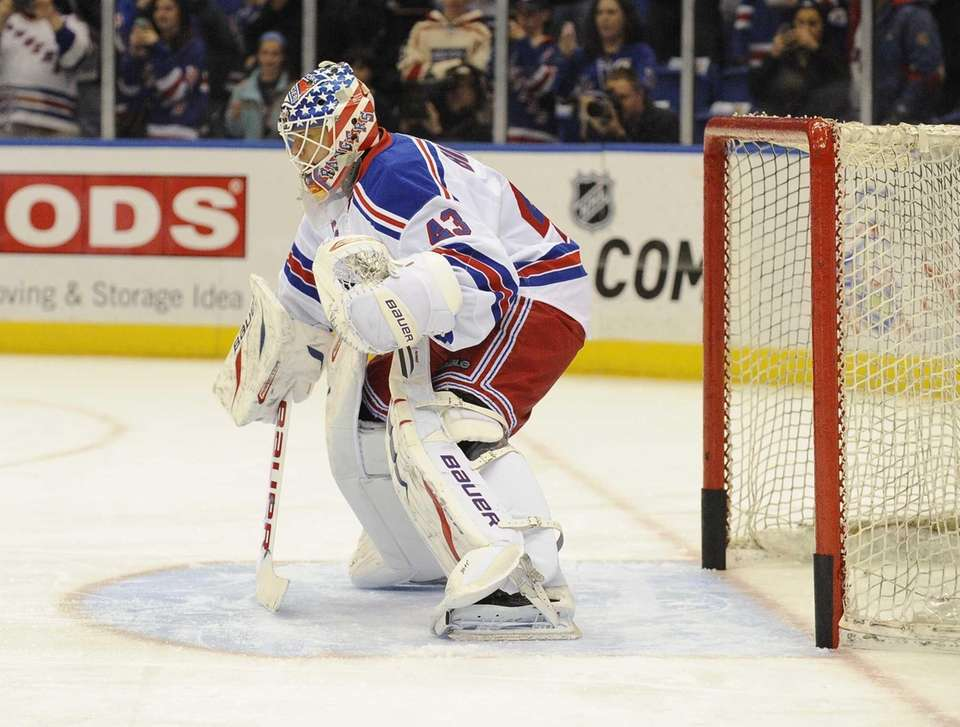 Goalie Martin Biron of the Rangers warms up