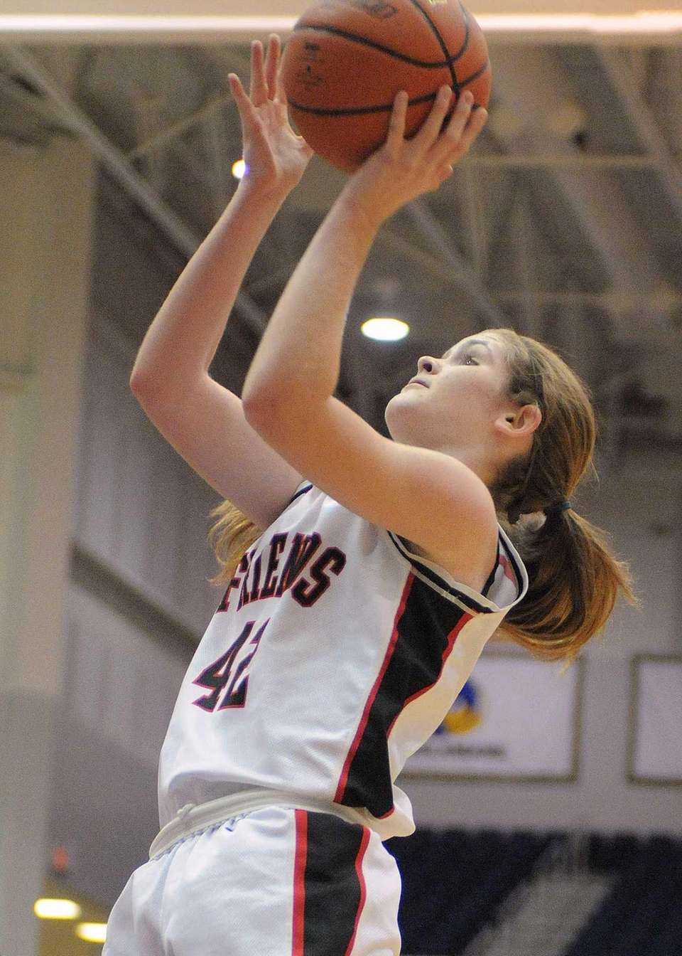Friends Academy's Lindsay O'Sullivan drives to the basket